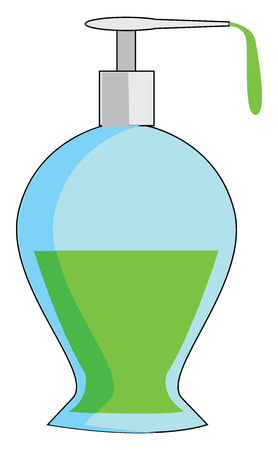 A blue-colored dispenser pump bottle made out of plastic and contains the green-colored solution The cartoon picture depicts the solution dispensed from its mouth vector color drawing or illustration