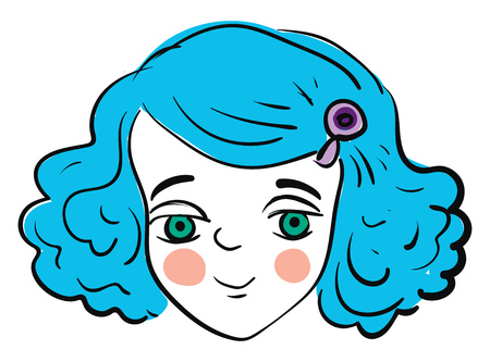 A pretty girl with blue hair lavender hairpin green eyes and pale cheeks smiling vector color drawing or illustration