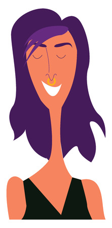 A skinny girl in black costume and eyes closed is with purple lilac hair that symbolizes first love vector color drawing or illustration Ilustrace