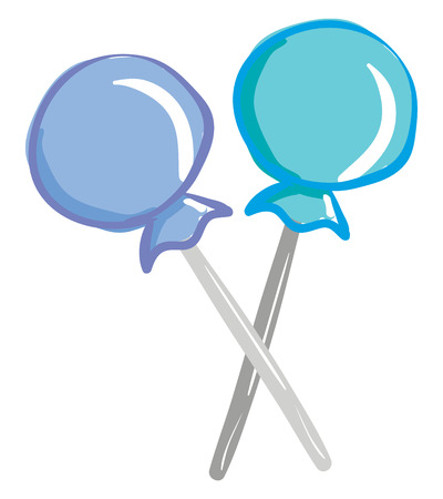 A pair of light blue and dark blue candy lollipops with a wrapper crossing each other vector color drawing or illustration