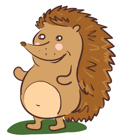 A cartoon hedgehog brown in color with spiky hair is laughing while standing in the grassland vector color drawing or illustration