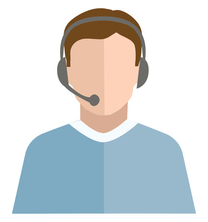 A telephone operator with his black-colored headset dressed in his blue-colored shirt is ready for a call vector color drawing or illustration