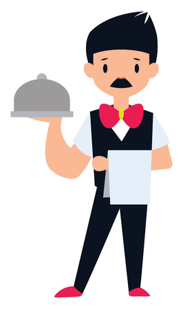 Male waiter character vector illustration on a white background