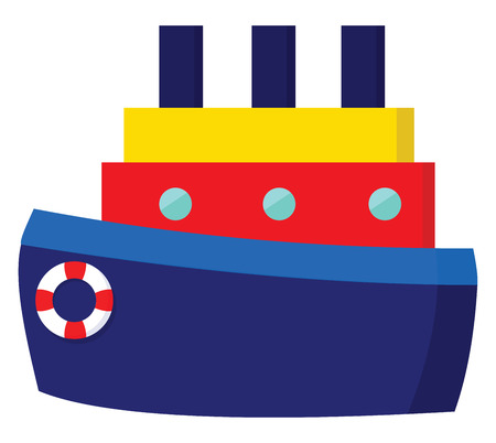 A ship in light blue and navy blue colors has three blue chimneys a yellow upper deck a red middle deck with three windows Additionally has a safety inflatable ring to its front end vector color drawing or illustration 写真素材 - 121232718