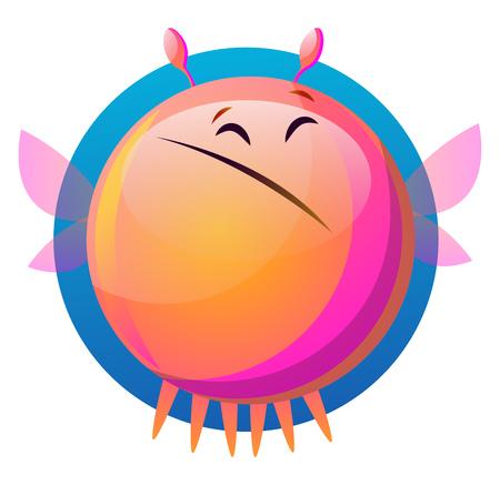 Sad pink cartoon monster vector illustartion on white background