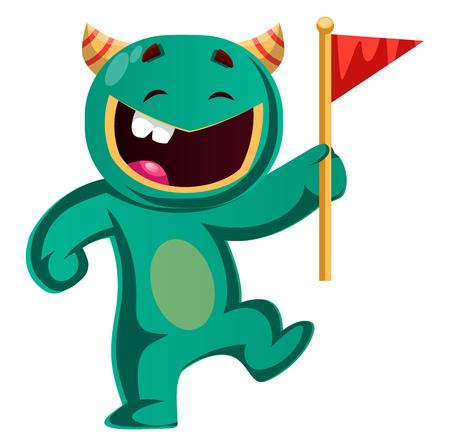 Green monster holding a flag vector illustration 向量圖像