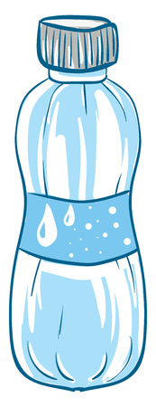 A blue water bottle with a blue wrapper depicting a few droplets of water on it vector color drawing or illustration Ilustração