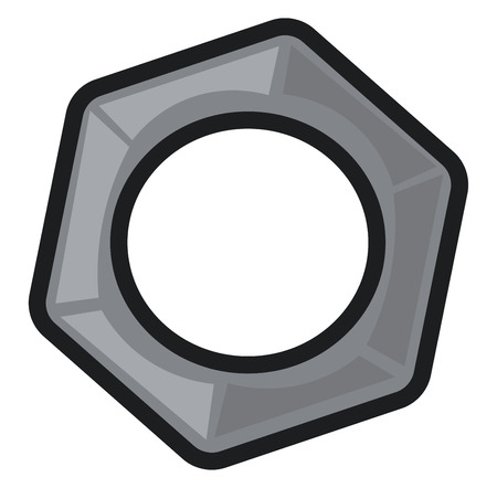 A grey-colored cartoon nut in hexagonal shape with a threaded hole for screwing on to a bolt as a fastener vector color drawing or illustration
