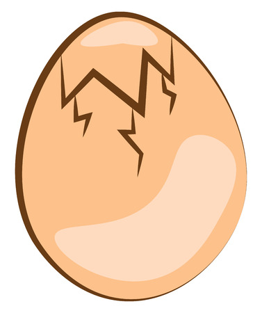 An egg which is about to crack vector color drawing or illustration Ilustração
