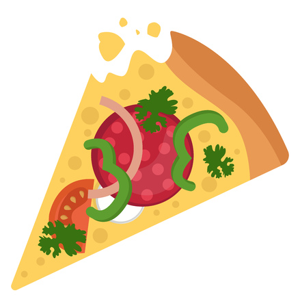 Salami pizza with veggies illustration vector on white background
