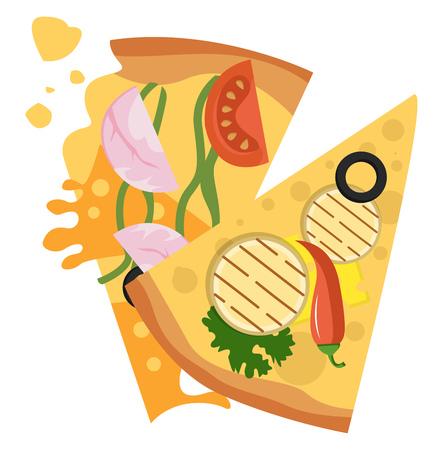 Slice of veggie and slice of ham pizza illustration vector on white background