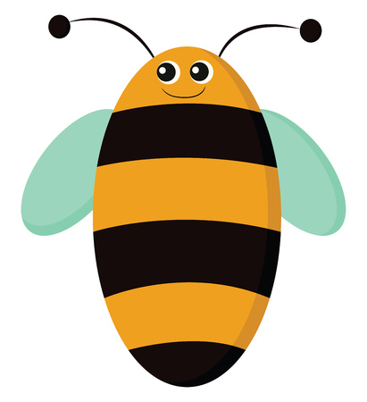 An oval-shaped bee having black and yellow stripes blue wings and two antennae with a smiling face vector color drawing or illustration