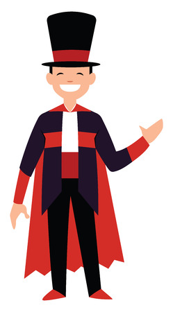 Happy magician character vector illustration on a white background