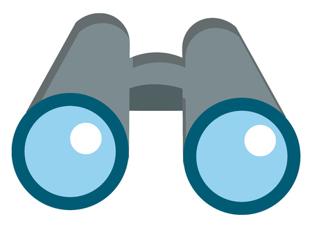 Front view of a pair of large grey binoculars with light blue lens vector color drawing or illustration