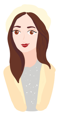 A woman with brown hair eyes and lips is wearing a yellow hat a grey dress and a yellow sweater vector color drawing or illustration Иллюстрация