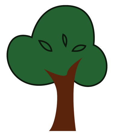 A big lustrous tree with a brown trunk and lots of fresh green leaves vector color drawing or illustration
