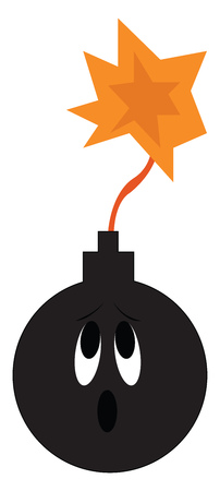 A bomb that is on fire and about to detonate having a worried face vector color drawing or illustration