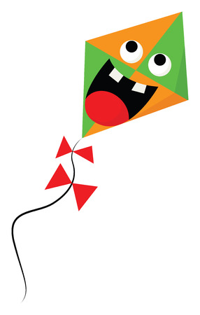 A scared orange and green-colored cartoon kite with its mouth opened two bulging eyes and two bow-like red ribbons attached to its string vector color drawing or illustration