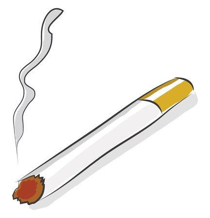 A lighted grey color cigarette with folder arms standing legs and a smiling face vector color drawing or illustration