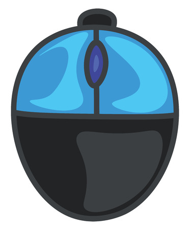 Cartoon two-button office mouse in shades of blue color and a semi-circular shaped button at the center for the user to scroll the monitor in the desired manner vector color drawing or illustration