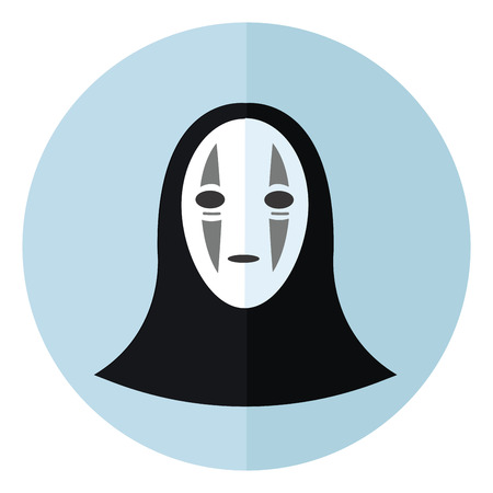 A black monster with a white mask having grey stripes on the mask vector color drawing or illustration