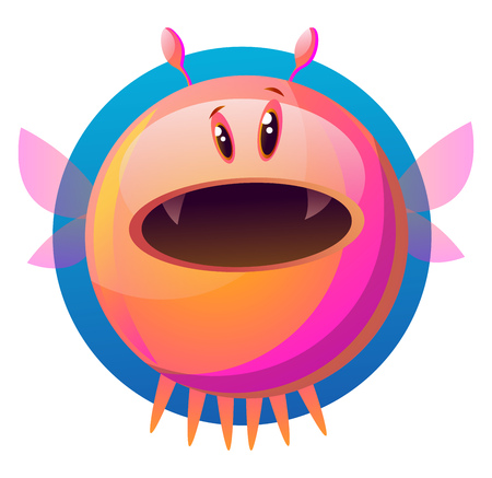 Suprised pink cartoon monster vector illustartion on white background Stock Illustratie