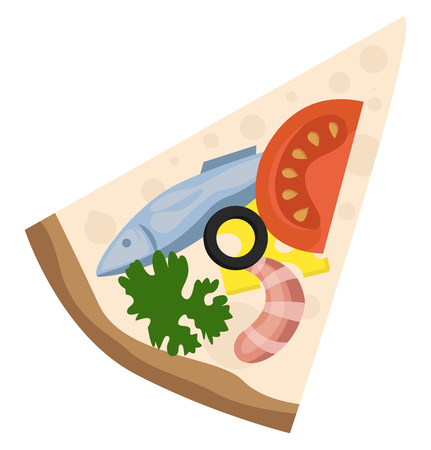 Slice of pizza with seafood and veggies illustration vector on white background