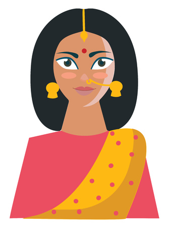 An Indian woman in her yellow-colored saree printed with rose polka design and a matching blouse looks beautiful with her accessories like maang tikka earrings bindi and nose rings vector color drawing or illustration