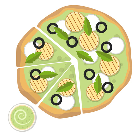Mozzarella pesto sauce pizza with dip illustration vector on white background