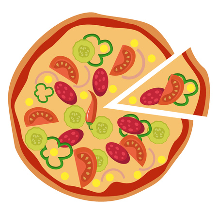 Spicy Mexican pizza illustration vector on white background Illustration