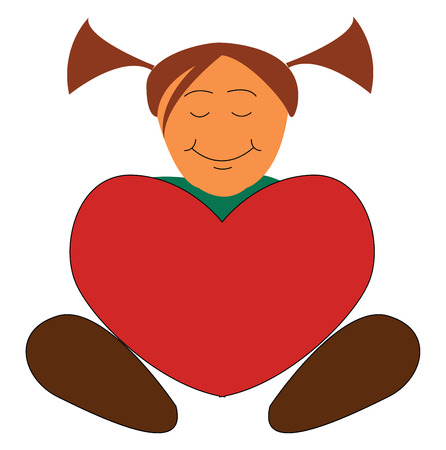 A little girl holds a big red-colored heart with eyes closed and a broad smile turning up to rosy cheeks while in sitting posture She is dressed in green and wears two ponytails vector color drawing or illustration