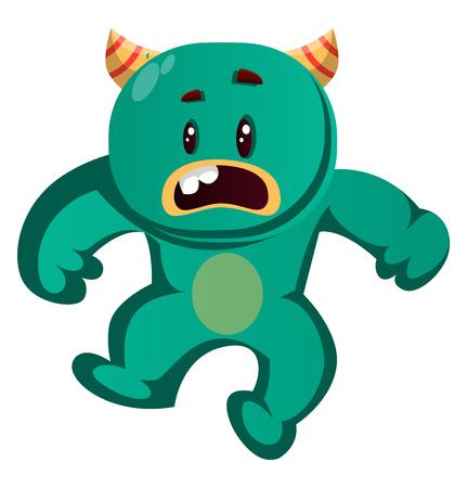 Green monster is surprised vector illustration 일러스트