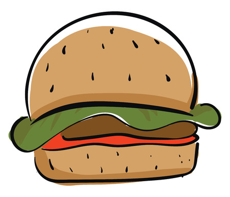A big brown burger with Patti lettuce and a slice of tomato vector color drawing or illustration Illustration