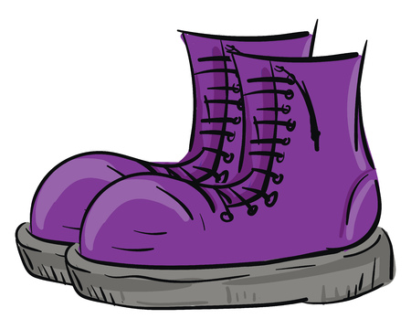 A pair of big purple rain boots with lace-up detail and grey bottom vector color drawing or illustration