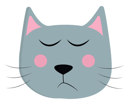 A grey cat with pink ears and cheeks having its eyes closed in an attempt to be sleeping vector color drawing or illustration