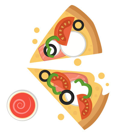 Two slices of pizza with mozzarella illustration vector on white background