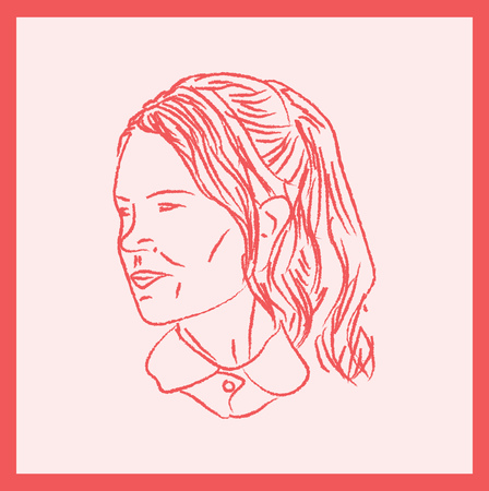 A framed pink picture of a girl wearing a ponytail with the face turned to a side vector color drawing or illustration