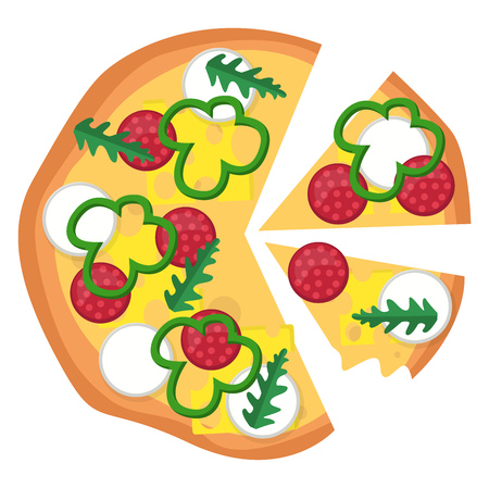 Pizza with pepperoni veggies and a lot of cheese illustration vector on white background