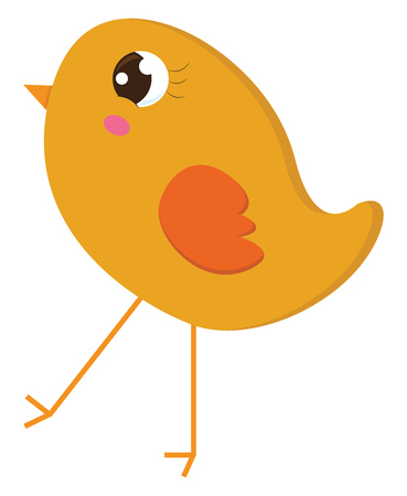 A yellow chick with big eyes orange wings beak and legs is walking vector color drawing or illustration