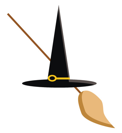 The black color hat with a magical wand vector color drawing or illustration 向量圖像