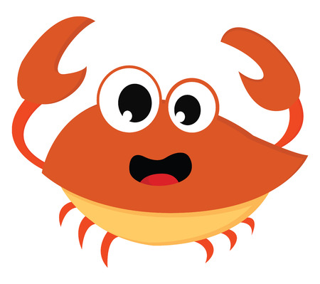 An orange crab with two tentacles six legs and a surprised look on the face vector color drawing or illustration Illustration