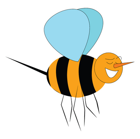 A happy bee with black and yellow stripes six legs blue wings has a long sharp sting at the back vector color drawing or illustration