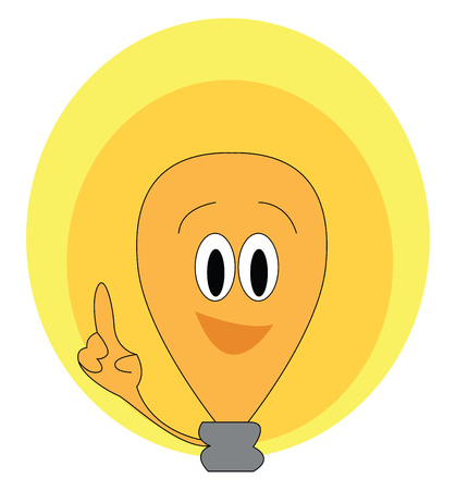 A brown-colored cartoon light bulb enclosed in two spheres laughs as it points its index finger to the ceiling vector color drawing or illustration