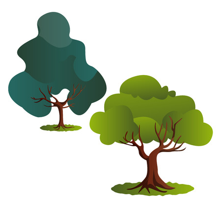 Couple of green trees vector illustration on white background