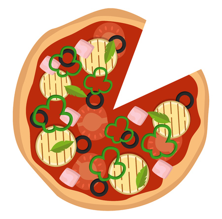 Pizza with colorful vegetables illustration vector on white background Ilustração