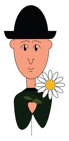 A boy dressed in black with a black hat holding a flower vector color drawing or illustration