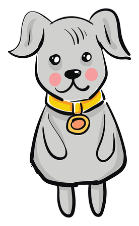 A grey dog with a golden collar around its neck is standing upright vector color drawing or illustration 向量圖像