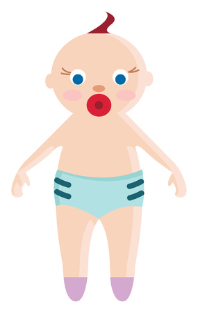 An adorable baby in blue underwear with a pacifier in his mouth vector color drawing or illustration