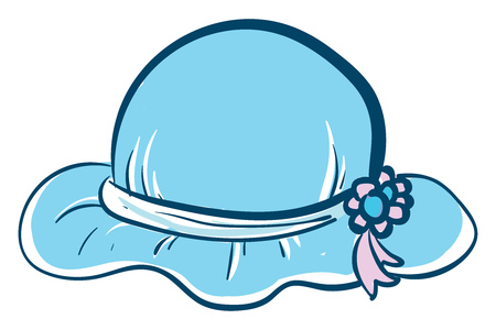 A pretty blue hat with two blue and pink flowers attached to the side of the hat vector color drawing or illustration