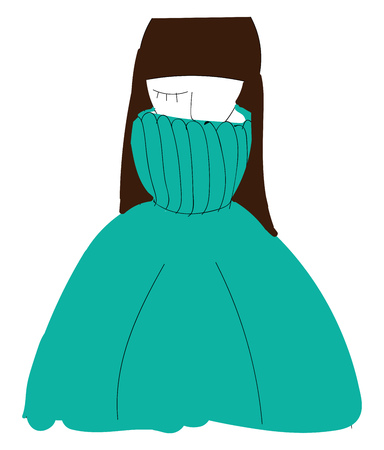 A girl with one closed eye and long straight black hair is wearing a teal green polo neck sweater vector color drawing or illustration